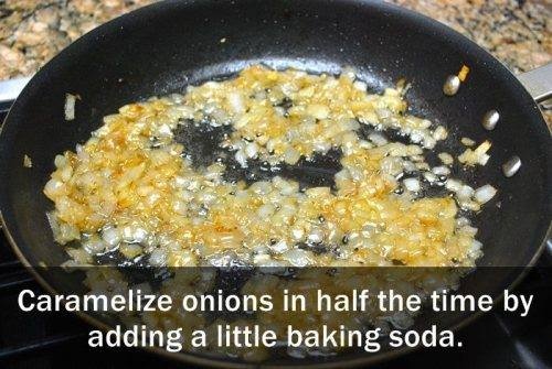 Add Baking soda to caramelize onions faster!