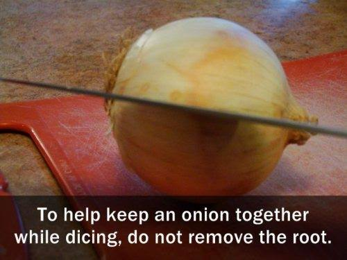 Dicing a whole onion, keep it together by not removing root