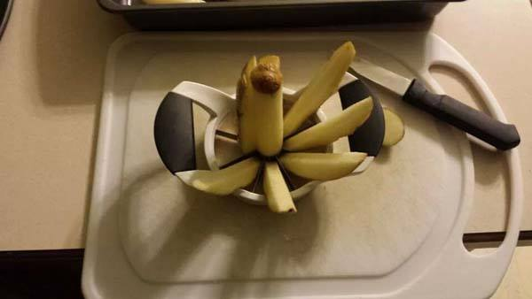 Use an Apple slicer to cut potatoes