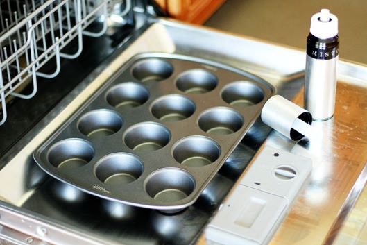 Spray your muffin tin on the dishwasher