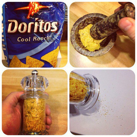 Crush Chips into a grinder for seasonings