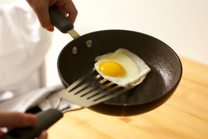 Heat your spatulas to keep eggs from sticking