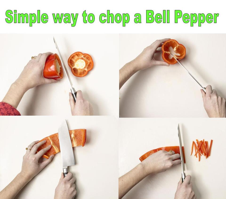 Easy way to chop peppers