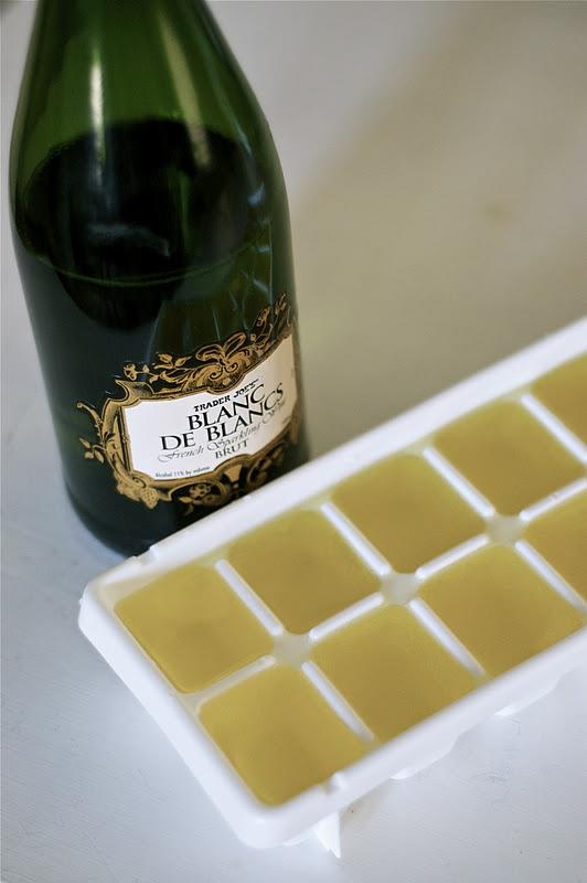 Freeze Champagne in Ice Cube trays then drop in OJ