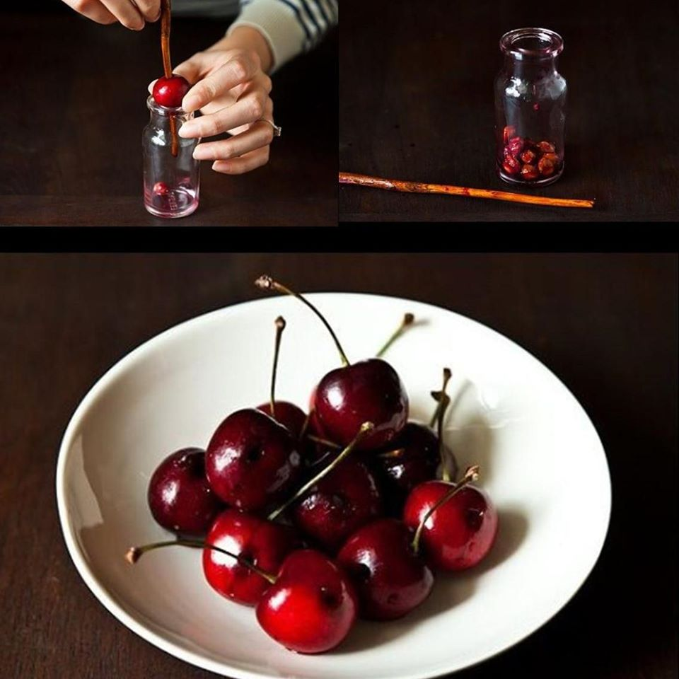 Pit cherries with a Chop Stick