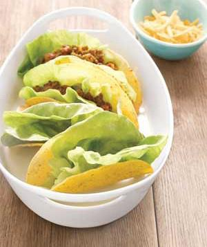Line Tacos with Lettuce leaves to keep fillings in
