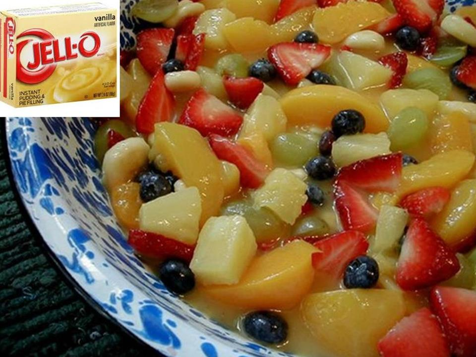 Add Vanilla Pudding Mix to Fruit Salad
