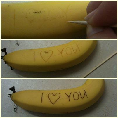 Magic writing on Banana