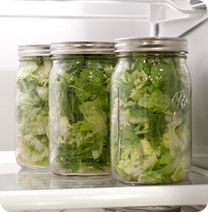 Put Lettuce in Jars to last longer