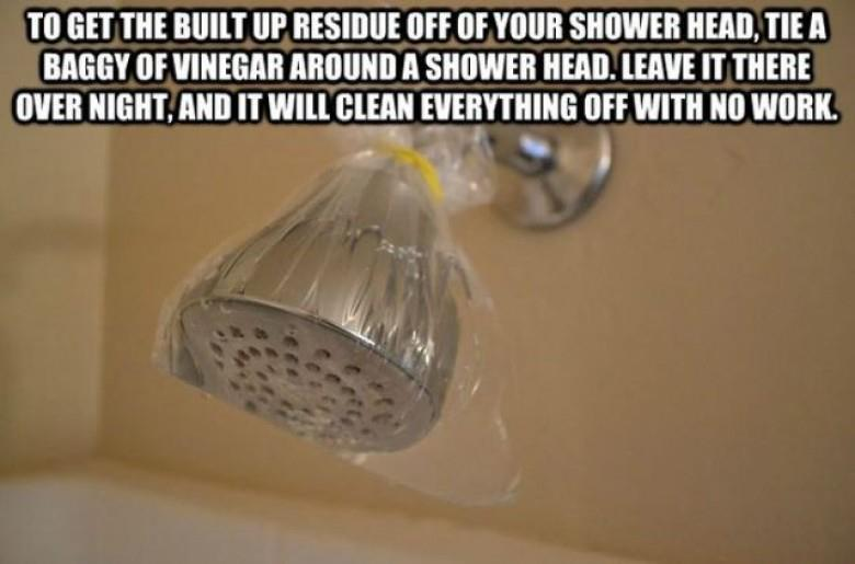 Put a bag of Vinegar over your showerhead
