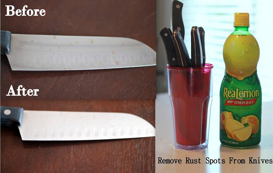 Remove rust from knives with Lemon Juice
