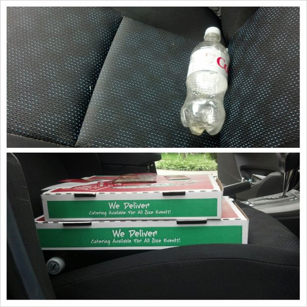 Use a bottle to keep pizzas level in the car