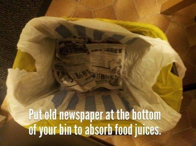 Newspaper in the can to absorb juice and odor