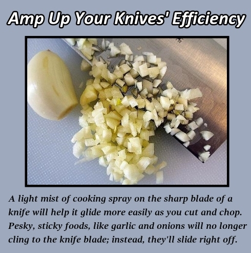 Keep Garlic from Sticking to the Knife!