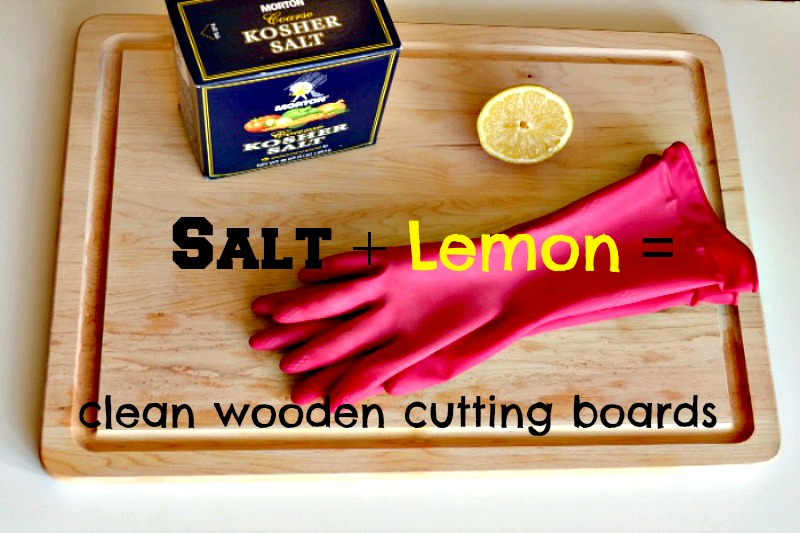 Clean Cutting Boards with Lemon and Salt